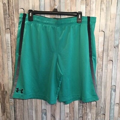 Under Armour Men's Shorts Athletic Loose Heat Gear Green Black Turquoise Size XL