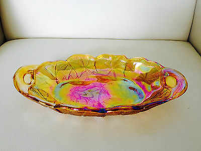 VINTAGE CARNIVAL GLASS OVAL BOAT DISH PLATE - As New