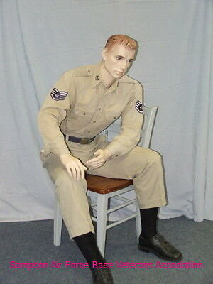 5 ft H Male Seated Mannequin, Skintone with Face Makeup, M/L size, SFM54FT