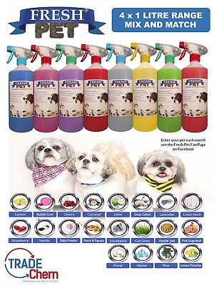 4 X 1L FRESH PET Kennel Disinfectant, Cattery Cleaner, Deodoriser - MIXED PACKS