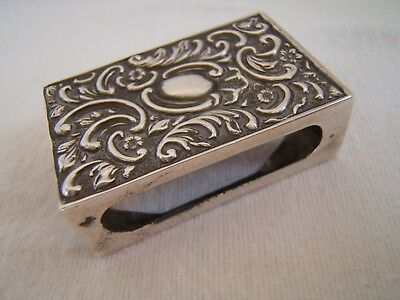 Antique Solid Silver Matchbox Holder. Chester 1900