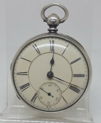 Chunky Antique solid silver fusee Chester pocket watch 1875 working