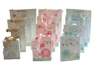 Baby Shower New Born Birthday Gift Paper Bags Pink Blue Boy or Girl Elephant