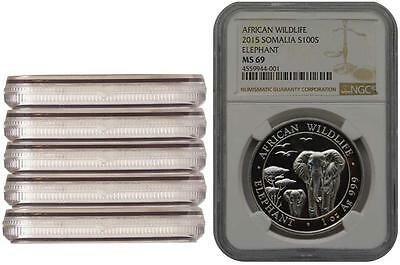 5 Coins Lot 2015 Somalia Elephant 1 oz Silver NGC MS69 Consecutive Label Numbers
