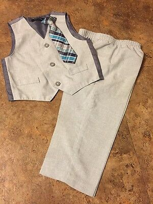 Boys Light Gray 2 Pc Dressy Vest & Pants Set Size 24 Months