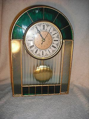 """Contemporary """"stained glass"""" battery operated mantel clock"""