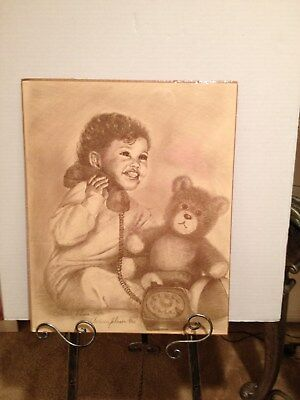 """Baby and Bear"" Print by Clarissa Johnson Artist African Lithograph Art"