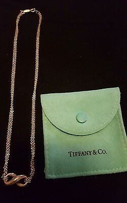 Tiffany and Co 925 Sterling Silver Double Strand Infinity 16 inch necklace