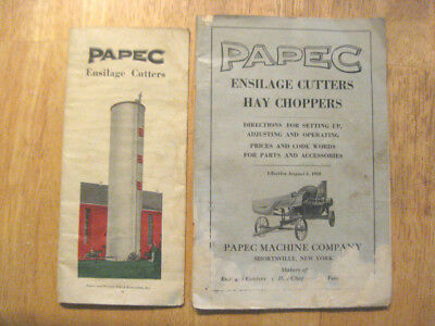 Papec 1930 Ensilage Cutters~Hay Choppers Manual~Prices For Parts & Brochure~Farm