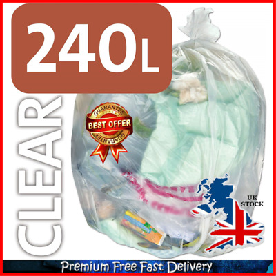 New Clear Recycling Bags Sacks Refuse Rubbish Plastic Liners 10 Pack With Pen UK