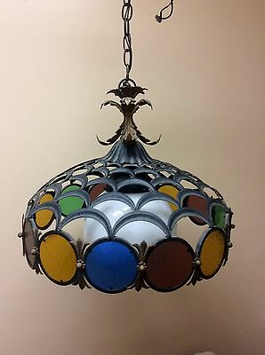 Mid Century Italian Gothic Wrought Iron / Retro Colored Stain Glass Chandelier