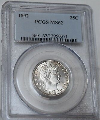 "1892 Barber Quarter ""PCGS MS62"" *Free S/H After 1st Item*"