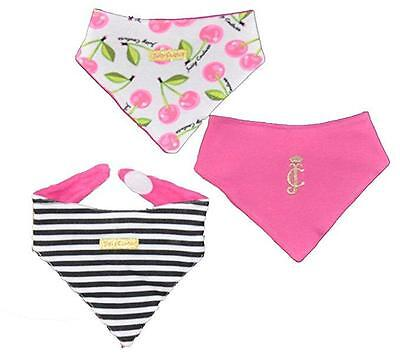 Juicy Couture Infant Girls Cherry Print 3Pack Handkerchief Bibs Size One Size