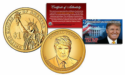 DONALD J TRUMP Official 45th President Golden-Hue PRESIDENTIAL DOLLAR $1 US Coin
