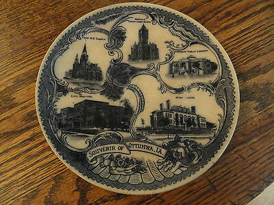 """Old Flow Blue (?) """"Souvenir Of Ottumwa, IA."""" Advertiisng Plate - GREAT GRAPHICS!"""