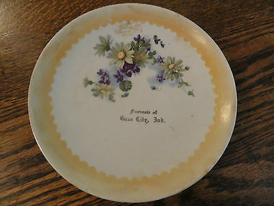 """Old """"Souvenir Of Cass City, Ind."""" Advertiisng Plate - GREAT GRAPHICS!!"""