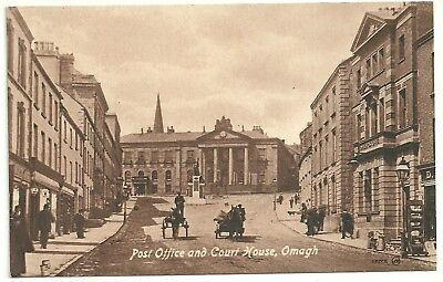 Ireland Co Tyrone  postcard Omagh Post Office & Court House