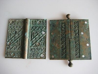Pair of ORNATE Victorian Eastlake Door Hinges Hardware Antique 4 1/2 x 4 1/2
