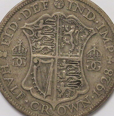 1928 Great Britain 1/2 Crown Coin...excellent Coin!!  Free Shipping!!!