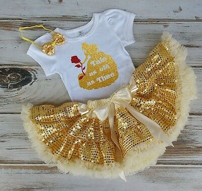 Baby Girls Princess Belle Golden Birthday Outfit. Princess Belle Pettiskirt Set.