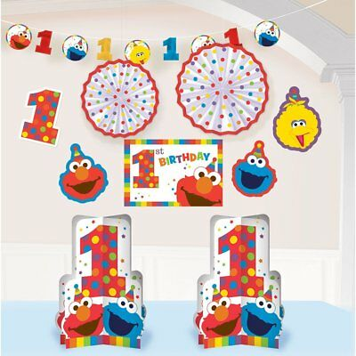 1st Birthday Elmo Room Decorating Kit 10 piece Party Supplies Elmo Sesame Street