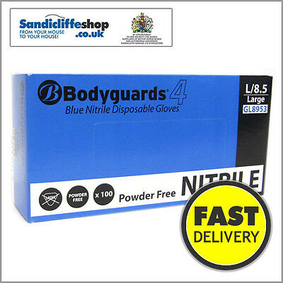 Boxs of 100 Bodyguard 4 Blue Nitrile Disposable Gloves Powder Free- x1,x2,x4,x10