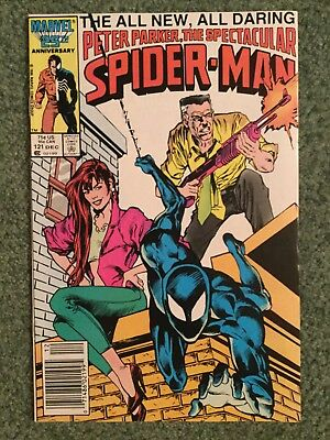 Spectacular Spider-Man #121, Black Suit, Newsstand Cover, Peter David (1986)