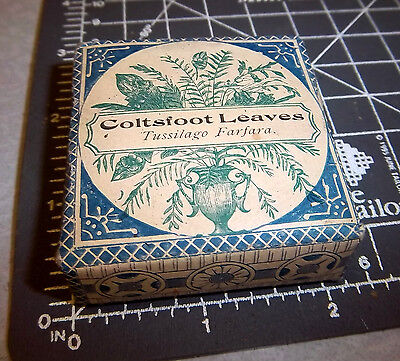 Vintage Huber & co Coltsfoot Leaves, 1900s Pharmacy New box, fond du lac wisc.