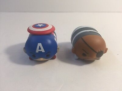 2 Disney Marvel Large Tsum Tsum Figures Captain America Nick Fury Avengers