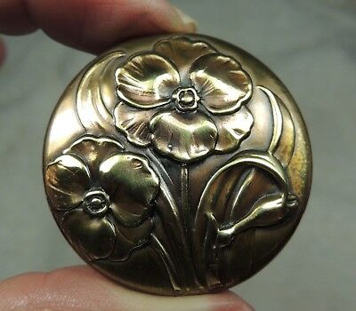 Brass Picture Button ~ Floral      Metal