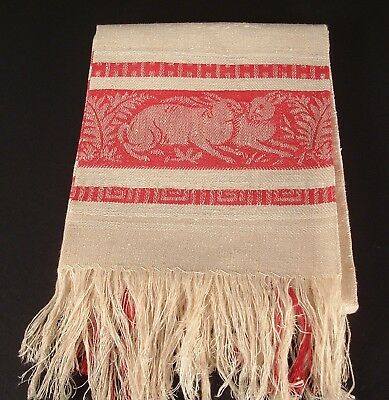 Antique Redware Linen Damask Textile Towel With Deer Grazing And Red  Rabbits
