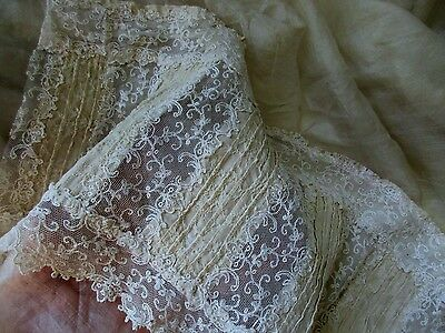 """ANTIQUE FRENCH HDMD OYSTER PLEATED SILK BROCATELLE LACE TRIM PC 16""""x8"""" TROUSSEAU"""