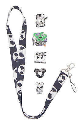 Jack Skellington Nightmare Before Christmas Lanyard Set with 5 Disney Pins ~NEW