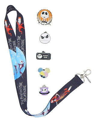 Jack Skellington Nightmare Before Christmas Lanyard Set w/ 5 Disney Pins - NEW