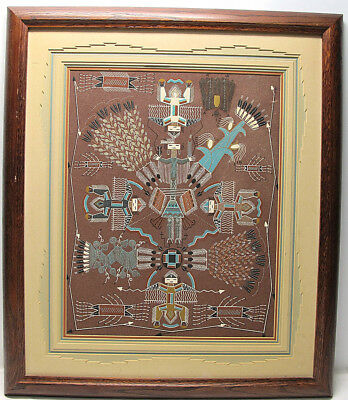 """Rosabelle Ben ORIG Native American Indian Navajo """"Holy Man"""" Sand Painting NR yqz"""