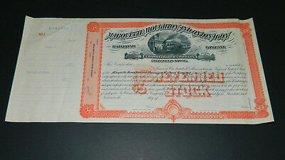 Vintage Marquette Houghton and Ontonagon Railroad Stock Certificate