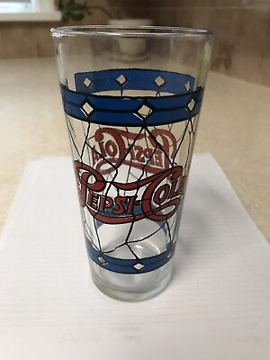 Vintage Pepsi Cola Drinking Glass Red Blue Stained Restaurant Glass