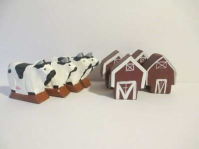 Cows + Barns LOT of 8 Painted Kitchen Home Decor Wooden Primitive Animals Farm
