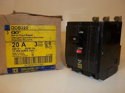 Square D Qob320 Circuit Breaker, 3 Pole 20A 240V, Bolt On, New Fs
