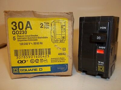 Square D Qo230 Circuit Breaker, 2 Pole 30A 120/240V, New Fs