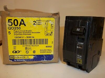 Square D Qo250 Circuit Breaker, 2 Pole 50A 120/240V, New Fs
