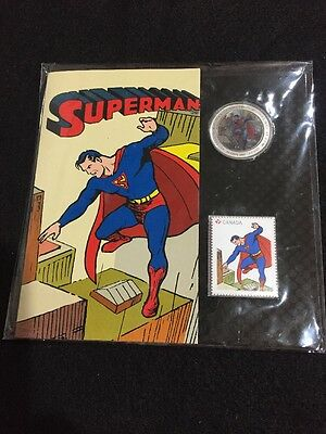 2013 Canadian 75th Anniv. of Superman Then & Now-Coin and Stamp
