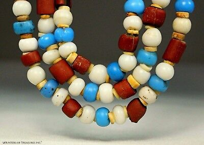 73) Native American Shell and Venetian Old Trade Beads Indian Artifact NY 1700's