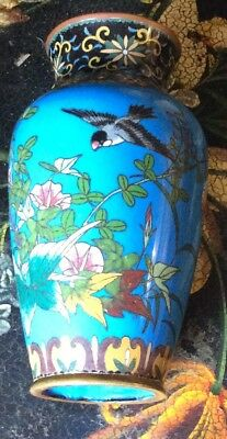 """? Antique Cloisonne Vase Birds Butterfly Flowers  7.5"""" Japanese Chinese ?"""