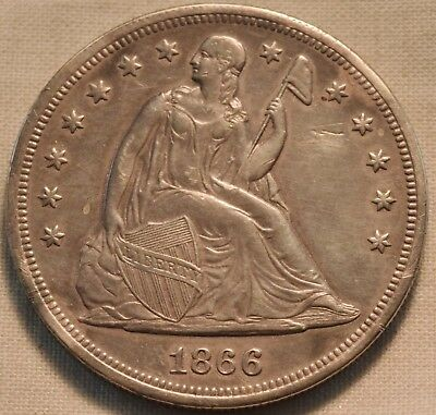 1866 Seated Liberty Silver Dollar, Higher Grade Details Scarce Date One $1 Coin