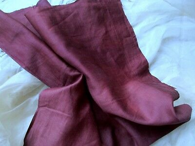 Antique Victorian French Cotton Sateen Fabric Square Pc Mulberry Wine Patina