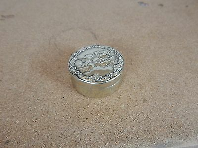 Antique EPNS Round Pill Box  Repose Cherub Design 4.5 cm diameter. div1 box 2