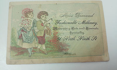 Victorian Trade Card Miss Dimond Fashionable Millinery Mourning Hats Bonnets