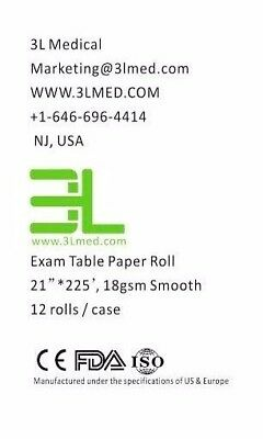 """NEW Exam Table Paper 21""""x 225' Smooth white 12 rolls - 100% Virgin Wood Pulp"""