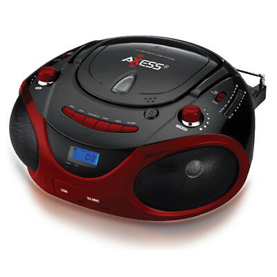 Axess PB2703RD Portable Mp3/cd/usb/sd Boombox With Amfm Stereo Red